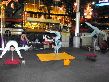 Acrobatic buskers