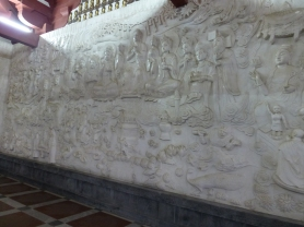 Wall of carved marble