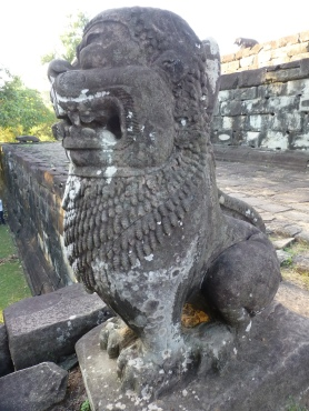 Lion statue with tail still attached