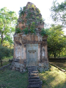 One of eight brick towers around the temple