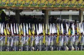 Flag bearers enter