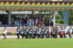 Bagpipe band performs at Brunei's National Day