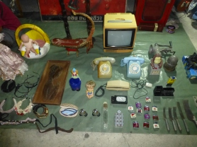 Vintage TV, telephones, and lighters