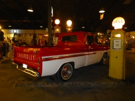Chevy pickup and Shell gas pump