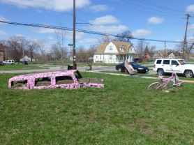 Pink car and pink bicycle  in Heidelberg Project