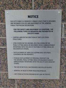 Zuccotti Park Sign