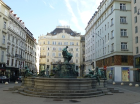 Baroque Donner Fountain in Neuer Markt Square