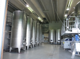 Stainless steel fermenting tanks
