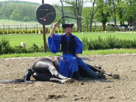 Cavalryman sleeping on horse